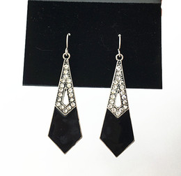 Black Enamel Fishhook Earrings With Clear Crystal Stones In Burnished Silver Plating Color For Women On Wholesale