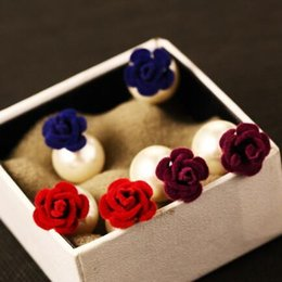 Fashion Flower & Pearl Double Sided Earrings for Women Jewelry Accessories Blue Purple Red Colors