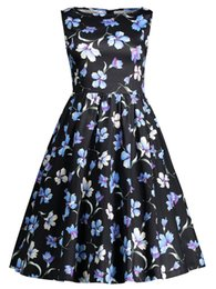 New Women OL Summer Sleeveless Long Floral Dress Fashion Plus Size Cotton Flower Print Vintage Dress