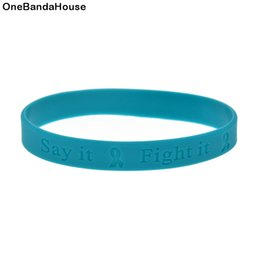 Wholesale 100PCS Lot Cancer Awareness Silicone Wristband Bracelet Debossed Logo Say It Fight It and Cure It