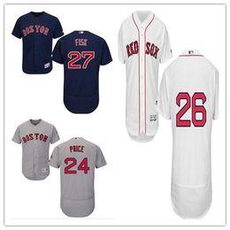 custom Men's Women Youth Majestic Red Sox Jersey #25 Jackie Bradley Jr 24 David Price 27 Carlton Fisk 26 Wade Boggs Baseball Jerseys