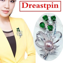 65*41 mm The trend of high-end Brooch beautifully studded drill accessories grass Brooch