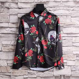 2017 new hot Medusa shirt long-sleeved stretch cotton knit Polo shirt men's embroidered tiger print bird snake team collar casual shirt