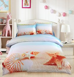 Wannaus 3D Bed Set Comforter Cover set High Quality Starfish and Conch Printed 4-Piece Duvet Covers set