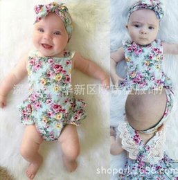 2018 INS NEW baby girl toddler Summer 2piece set outfits Rose Floral romper Lace onesies jumper jumpsuits + bowknot headband headwrap