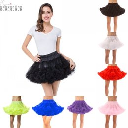 Black White Red Pink Women Short Petticoats Tulle Underskirt Short Tutu Skirt for Wedding Dress Crinoline Skirt CPA296