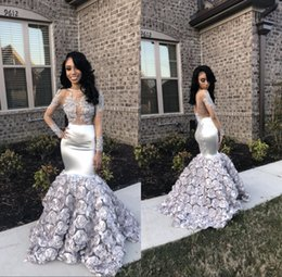 Silver 3D Floral Flowers Lace Long Sleeves Prom Dresses 2018 Jewel Neck Sheer Backless African Plus Size Black Girls Evening Gowns