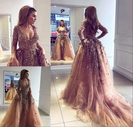 Pearls Appliqued Champagne Tulle Mermaid African Prom Dresses Overskirt Sexy V Neck Long Sleeves Formal Party Gowns Celebrity Evening Dress