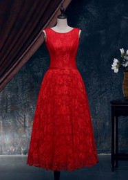 Red Wedding Dress lace wedding dress Cheap Bridesmaid Dresses Round Neckline in Front Deep V Cut Back XWJ009