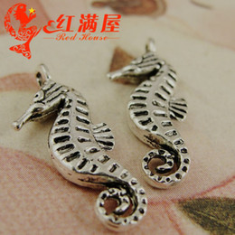 A4029 9*22MM Handmade DIY silver seahorse pendant jewelry accessories nautical charms items, dangle tibetan silver plated charm China
