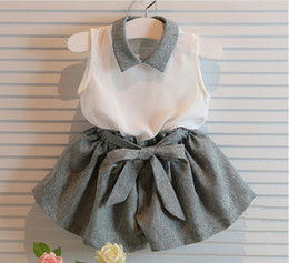 Summer Girls Clothing Set 2018 hot lolita2010 Fashion girls Sweet Chiffon vest white Tops shirts+baby girls bow shorts kids clothing set