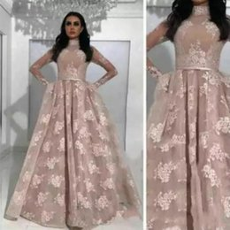 Vintage Arabic High Neck Lace Floral Evening Dresses Middle East Saudi Arabia Sheer Long Sleeves Sexy Illusion Bodices Long Party Prom Gowns