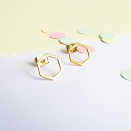 10Pair Cut Out Hexagon Honeycomb Stud Earring Open Line Hive Hexagon Earring Simple Minimalist Geometric Stud Earrings