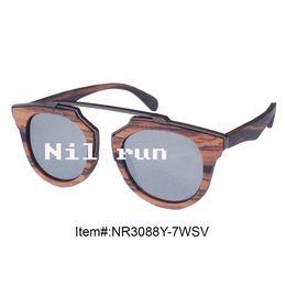 fashion round shape UV400 real mirror silver polarized lenses hand made ebony wood sunglasses