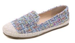 Women Casual Bohemia Flat Loafers Shoes Woman Round Toe Female Footwear Slip on Straw hemp rope Boat Fishermen Shoes