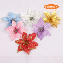 Wholesale Retail 6 Colors 13cm Glitter Side Christmas Flower Head Artificial Fake poinsettia Decorations For Christmas Festival