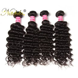 Nadula 4Bundles Virgin Brazilian Deep Wave Hair Bundle 100%Human Hair Extensions Peruvian Hair Bundle Wholesale Cuticle Aligned Weave Bundle
