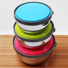 Stainless Steel Mixing or Food Bowl Set with lids With Bright Color Silicone lids, Set of 3 Bowls Dishwasher Freezer Safe