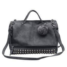 Vintage nubuck leather women handbag rivet larger women bags grey and black wholesale fashion girl Motorcycle bag