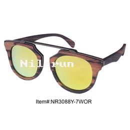 high quality round shape UV400 real mirror orange polarized lenses ebony wood sunglasses