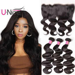 UNice Hair Brazilian Body Wave Bundles With Frontal Ear to Ear Virgin Hair Weave Bundles With 13x4 Lace Frontal Remy Human Hair Extensions