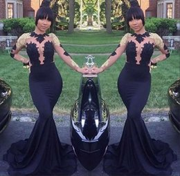 Sexy Gold Black Long Sleeve Lace Prom Party Dresses 2018 Jewel Mermaid Floor Length Formal African Women Evening Gowns