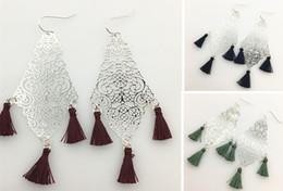 Filigree Earrings with tassel drop Dangle Earrings Fish hook wholesale free shipping For women giift