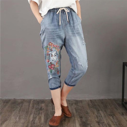 Summer Vintage Women Ripped Torn Blue Floral Girl-face Embroidery Jeans Holes Boyfriend Elastic Waist for Ladies Denim Bottom Clothes 3XL