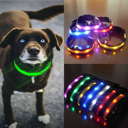 LED Nylon Dog Collar and Leash Pet Security Night Necklace Anti-lost Flashing Glitter Collars Light Waterproof