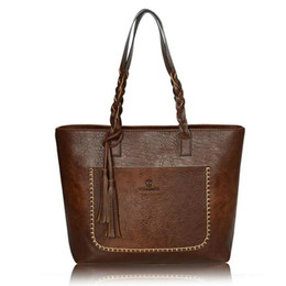 DHGATE New European style simple and stylish wild PU fringe handbags Bolsas Mujer Large Vintage Tassel Shoulder Bags Women Shopping Tote