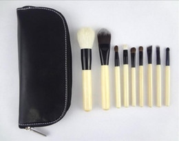 TOP Quality! Professional 9 PCS set Cosmetics Makeup Brushes Set with Black Zipper Leather Bag, Brand Make Up Brushes