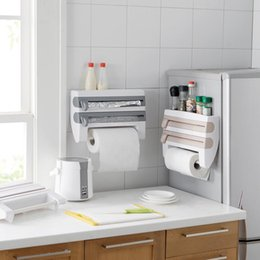 4 in 1 kitchen roll holder creative storage roll dispenser cling film tinfoil holder wall mount towel paper roll holder hanger organizer