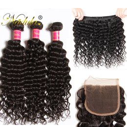 Nadula Brazilian Bundles With Closure Brazilian Virgin Hair Extensions Deep Wave Cheap Human Hair Wefts Weave Remy Human Hair Lace Closure