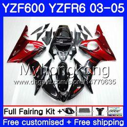 Body For YAMAHA YZF600 YZF R6 03 04 05 YZFR6 03 Bodywork 228HM.0 YZF 600 R 6 YZF-600 YZF-R6 2003 2004 2005 Fairings Kit Red flames black
