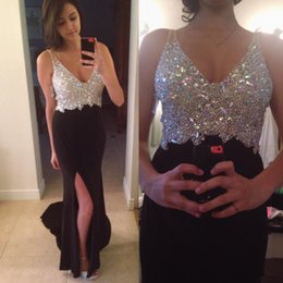 2019 Sexy black Mermaid Prom Dresses Deep V Neck Crystals Sheer straps Backless Chiffon Side Split formal Evening Dresses Party Gowns