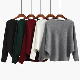 One-word collar sweater women European and American fashion pure color Pullover thread loose bat sleeve sweater long sleeve Pullover