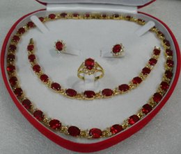Shiny finished 18KGP Red Faced Ruby Cubic Zirconia Necklace Bracelet Earring Ring Size 8