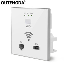 OUTENGDA 300Mbps in Wall AP WiFi Access Point Wireless Socket for Hotel Wi-Fi Project Support AC Management & RJ45 USB WPS Encryption