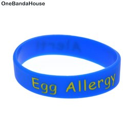Wholesale 100PCS Lot Medical Alert! Egg Allergy Silicone Wristband Ink Filled Logo Bracelet For Children Size