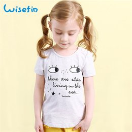 Wisefin Girls Tops Kids T Shirt Gray Cotton Sweat Absorption Big Eyes Letter Pattern Comfy Short Teenage Baby Casual T Shirts