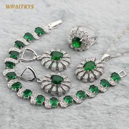 Green Silver Wedding Jewelry Sets - Wholesale Flower AAA Zircon Silver Plated Necklace Drop Earrings Ring Bracelet For Women Rings Size 6-10