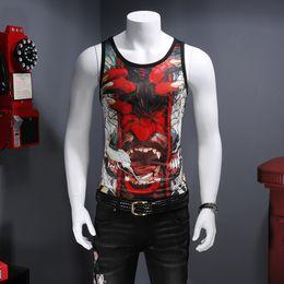 Men's sweat vest devil three-dimensional pattern printing sleeveless men's jacket 2018 summer new breathable T-shirt small shirt
