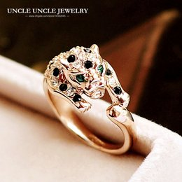 Brand Design Rose Gold Color Austrian Rhinestones Classic Leopard Spotted Luxury Lady Finger Ring Wholesale Gifts