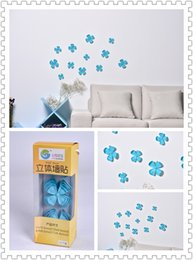 (Promotion: Buy 1 get 1 free)Flower 3D Wall Stickers Blue color(12pcs box)