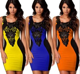 European and American Sexy Leather Lace splicing impact color small wind vest vest hip dress
