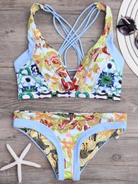New 2018 Summer Sport Swimming Wear Print Sexy Two Piece Bikinis Beach Girls Swimwear Sling Swimsuit