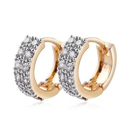 Top Quality Cubic Zircon Earrings Vintage Gold Plated Hoop Earrings Fashion Women Indian Jewelry for Party Wedding Prom