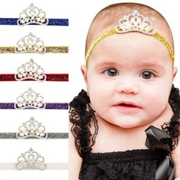 Baby Kids Handmade Hairbands CROWN Rhinestone Pearls Multi Colors glittery Elastic headband Costume Photo headband F114