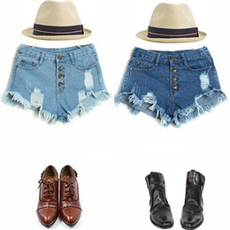 Woman Jeans Shorts 2017 New Summer Women Candy Color Hole Denim Shorts High Waist Plus Size Solid Casual Vintage Cotton Shorts