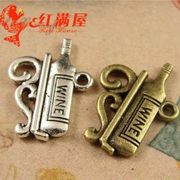 A3879 17*23MM Delicate wine bottle charms vintage pendants jewelry wholesale antique small thing, tibetan silver charms for bracelet